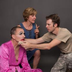 l to r GARY DAVID KEAST as Arnold, CATHY DRESBACH as Paige, and ANDY CAHOON as Isaac
